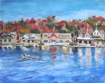 Philadelphia Painting of Boathouse Row. Watercolor Print. Autumn Leaves. Gwen Meyerson