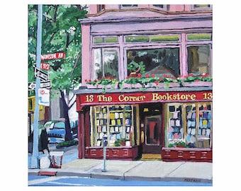 New York Art. Book Lover, Square Print, gift for reader, gift for writer. Corner Bookstore Painting. Gwen Meyerson