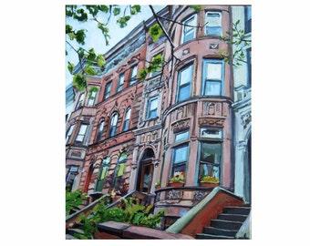 Brooklyn Painting Brownstone Art Print, New York City Painting, NYC Cityscape. Park Slope. Bklyn Art. Gwen Meyerson