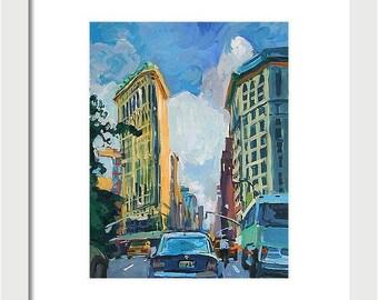 New York Art FlatIron Building flat iron NYC Art Print 8x10 Painting by Gwen Meyerson