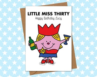 Funny Personalised 30th Birthday Card - Little Miss Thirty