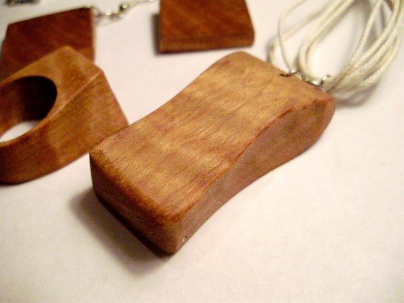 Exotic Pyinma wood ring pendant and earrings set