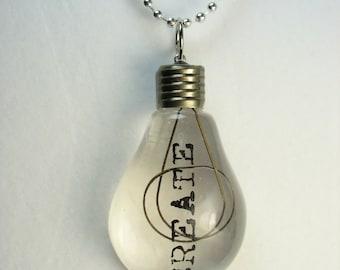 Lightbulb necklace ... acrylic lightbulb pendant on pull chain necklace ... a bright idea