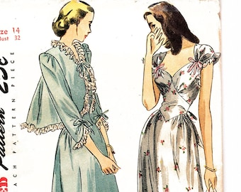 1940s Nightgown Pattern Sweetheart Neckline Nightgown with Bed Jacket size 14 Bust 32 UNCUT