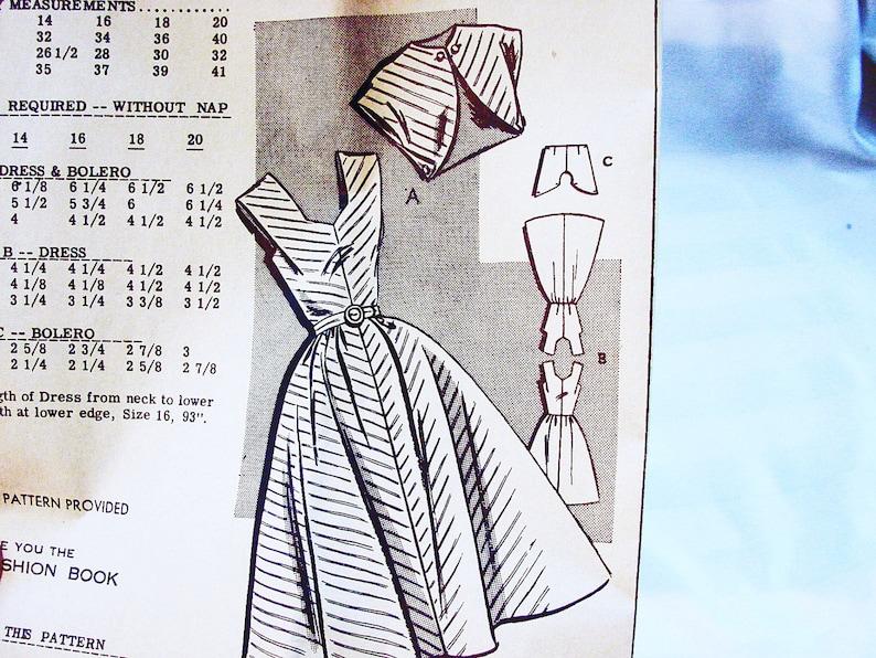 1950s Sundress Pattern Women/'s Dress and Jacket Sun dress and Bolero Jacket Sewing Pattern size 12