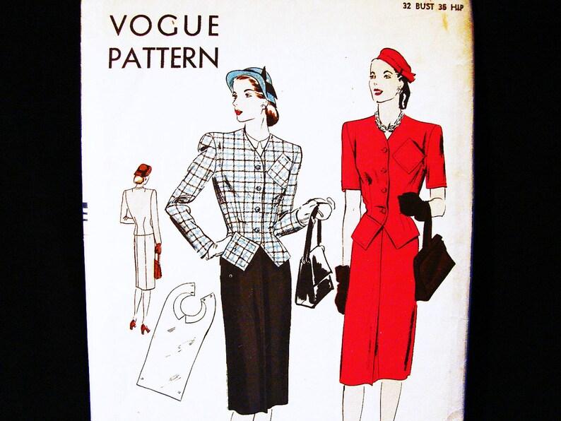 Taille Vogue CintréeEtsy Robe 1940 Tailleur Motif Manque 14 Buste DeYEH29WI