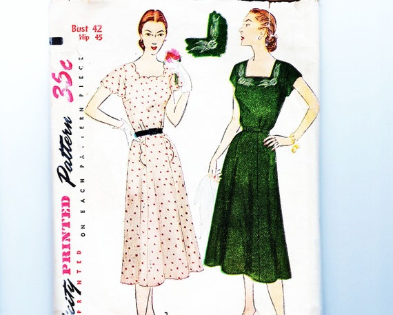 1950s Dress Pattern Bust 42, Plus Size Simplicity Day or Evening, Scalloped  Neckine, Womens Vintage Pattern Sewing 50s