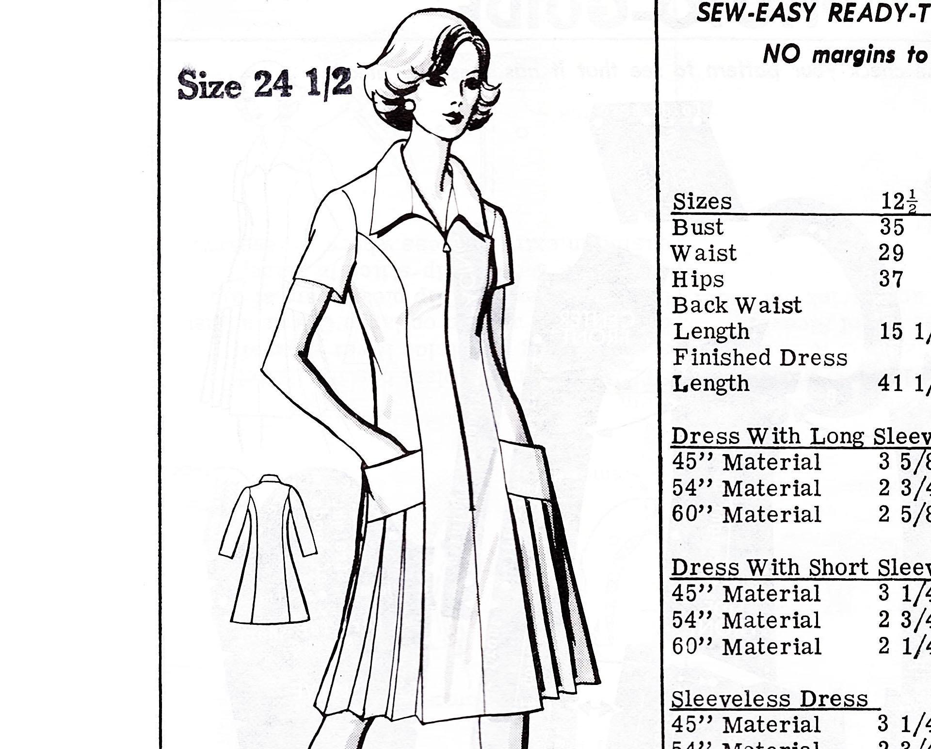 85cf1a900705b1 Plus Size Dress Pattern Bust 47 A line Dress with | Etsy