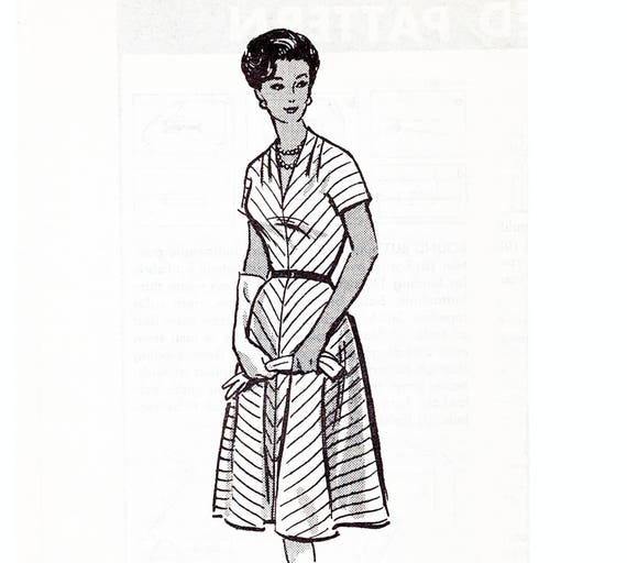 1950s Plus size Dress Pattern 45 Bust Mail Order Pattern V Neckline Flare  Skirt Chevron Dress Sewing Pattern