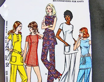 Vintage Sewing Pattern 1970s Misses size 10 McCalls Pounds Thinner Pattern Slimming Womens Tunic with Pants Pattern 70s