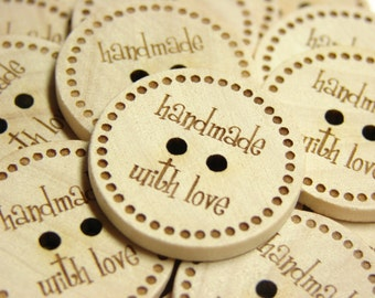 """1"""" Wooden Buttons """"hand with love"""" - Set of  10"""