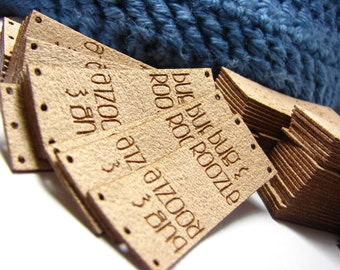 Personalized Knitting Labels - With Holes for Easy Attchment Ultrasuede Brand