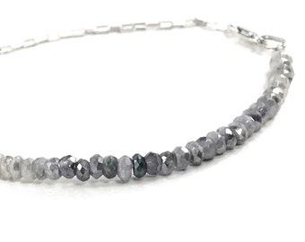 Sapphire Bracelet, Genuine Shaded Silverite Gemstone Silver Layering Bracelet