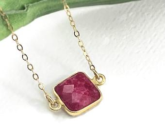 Ruby Necklace Vermeil Bezel 14K gf Necklace, Aug Birthstone, Leo, ZionShore