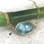 Blue Topaz Necklace - Genuine Bezel Set Solitaire Gemstone on 14K Gold Filled Chain