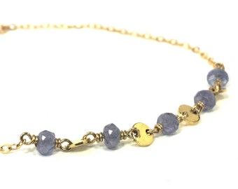 Tanzanite Gold Coin Layering Bracelet - December Birthstone