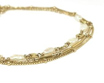 Pearl Gold Coin Layering Bracelet - June Birthstone