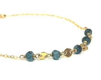 London Blue Topaz Gold Coin Layering Bracelet - December Birthstone