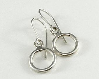 Sterling Silver Circles Earrings - Simple Minimalist Water Ripple Earrings - Handmade Office Fashion Bride Bridal