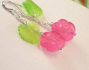 Vintage Pink Flower And Green Leaf Sterling Silver Earrings - Pink Garden - Handmade Feminin Fashion