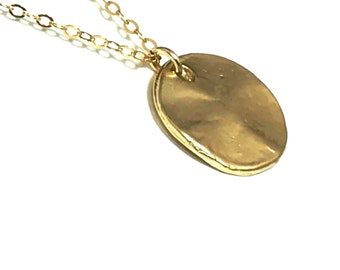 Old Relic Look Gold Disc Necklace 14K Gold Filled Feminine Layering Valentine's Day Gift