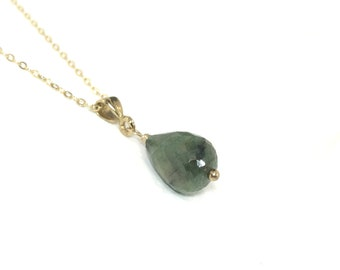 Raw Emerald Teardrop Necklace 14K Gold Filled - May Birthstone