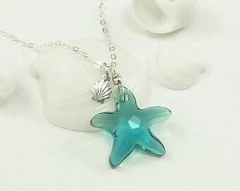 Caribbean Blue Swarovski Star Fish Necklace Sterling Silver Sea Shell Charm  - Getaway Vacation Ocean Beach Jewelry