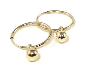 Gold Ball Hoop Earrings or Threader Earrings or Both Earring Set 14K Gold Filled - Gift Set