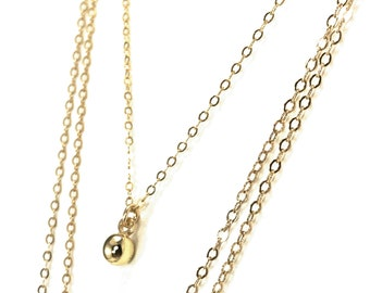 Dainty Gold Ball Dangle Necklace 14K Gold Filled Feminine Layering Valentine's Day Gift