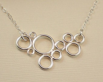 Sterling Silver Circles Necklace - Modern Simple Minimalistic Jewelry - Water Ripples - Handmade Office Fashion