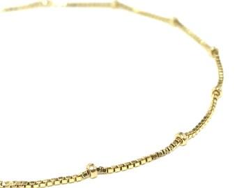 Satellite Box Chain Bracelet 14K Gold Filled Layering Bracelet Gift