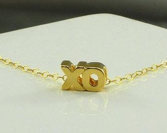 XO Hugs & Kisses Charm Necklace Gold Filled Chain Girlfriend Gift - Handmade Summer Fashion