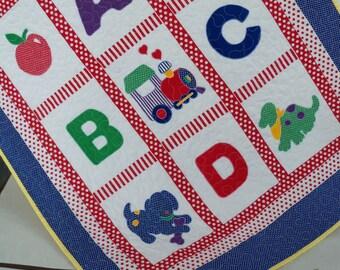 ABC Baby Quilt,  Nursery Bedding, Baby Blanket Handmade Quilt