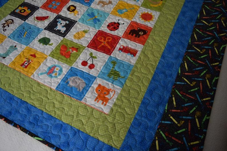 Blanket Nursery Quilt Handmade Children/'s Quilt I Spy Toddler Quilt Baby Quilt