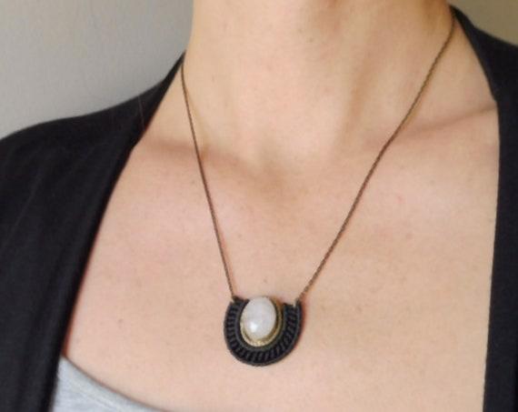 Mini O R Ü N Necklace . Rose Quartz  Stone set in Brass .  Micro Macrame Jewelry . . Design by  .. raïz ..