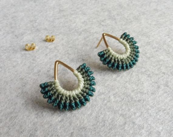 I B E Y I . Teardrop Stud Earrings . Micro Macrame Earrings . Fiber Jewelry © Design by .. raïz ..