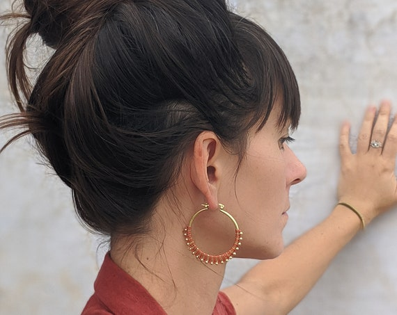 C A L Y P S O . Orange Brass Hoop Earrings . Fiber Jewelry . Textile Jewellery  © Design by .. raïz ..