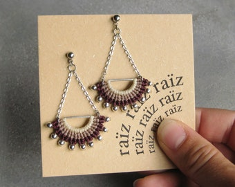 Geometric Dangling Earrings . Micro Macrame . Chain . Metal . Textile . Fibre Jewelry . Design by .. raïz ..