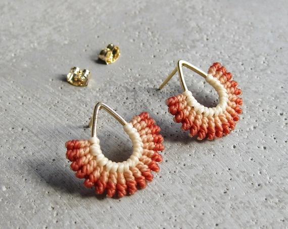 I B E Y I . Fan Shaped Earrings . Teardrop Studs . Micro Macrame Earrings . © Design by .. raïz ..