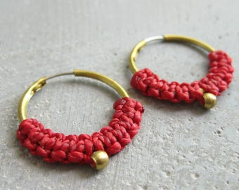 Small Red Hoop Earrings . Micro Macrame Jewelry . Modern Fiber Textile Jewelry . Design by .. raïz ..