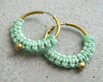 Small Brass Gold Hoops Fiber Earrings . Aqua Turquoise Micro Macrame Jewelry . Modern Textile Jewellery . Design by .. raïz ..