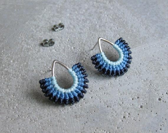 I b e y i . Micro Macrame Teardrop Silver Stud Earrings . © Design by .. raïz ..