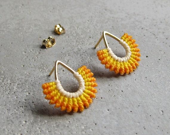 I B E Y I . Teardrop Stud Earrings . Mustard Yellow . Micro Macrame . Fiber Jewelry Textile . © Design by .. raïz ..