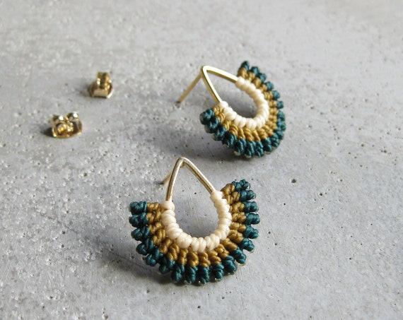 I B E Y I . Modern Macrame Earrings . Teardrop Studs . Contemporary Fiber Jewellery . © Design by .. raïz ..