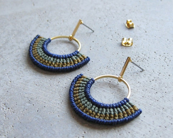 Modern Textile Gold Hoops Earrings . Blue and Khaki . Fiber Semi Circle Earrings . Geometric Macrame Earrings . Design by .. raïz ..
