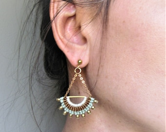 Textile Fan Long Dangling Earrings . Micro Macrame . Chain . Metal . Textile . Fibre Jewelry . Design by .. raïz ..