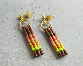 Sunset Stud Drop Earrings . Colorful Macrame Jewelry . Textile Fiber Jewelry . Design by .. raïz ..