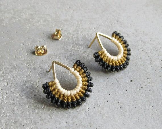 I B E Y I . Textile Earrings . Teardrop Studs . Micro Macrame Earrings . © Design by .. raïz ..