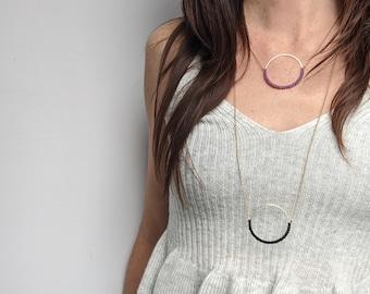 Long or Short Circle Hoop Necklace . Round Brass Pendant . Minimalist Modern Macrame Jewelry . Crochet Fiber Jewelry . Design .. raïz ..