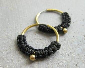 Black Brass Hoop Macrame Earrings. Textile Jewelry . Modern Fiber Textile Jewellery . Design by .. raïz ..